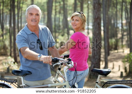 Couple out on a bike ride