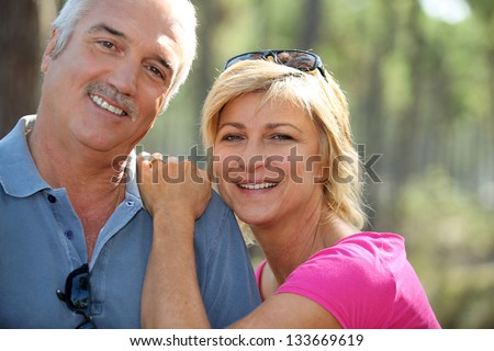 Couple outdoors - stock photo