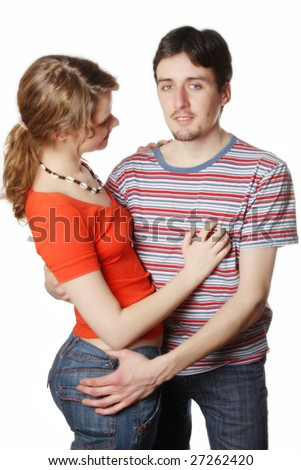 Couple over white background