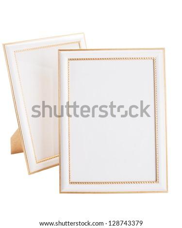 Couple photoframes isolated on white background - stock photo