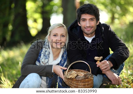 couple picking mushrooms - stock photo