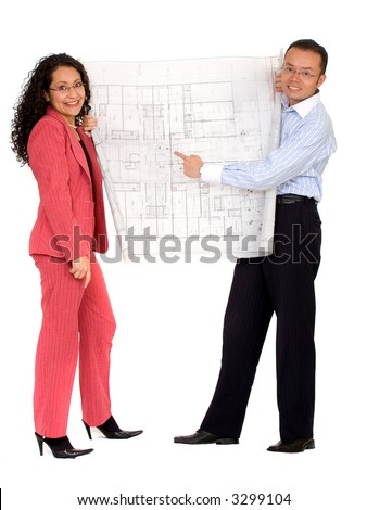 couple planning their house with some blueprints - isolated over a white background - stock photo