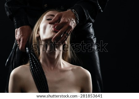 couple playing sexual games - stock photo