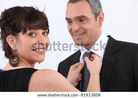 couple preparing for a celebration - stock photo