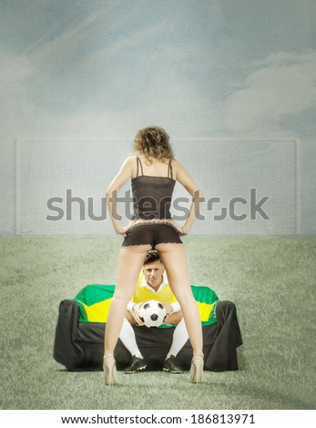 couple problems for football event - stock photo