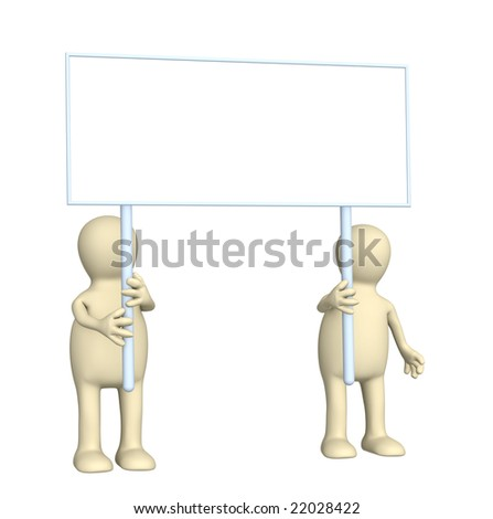 Couple puppets with poster in hands. Over white - stock photo