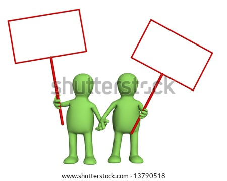 Couple puppets with posters in hands. Object over white - stock photo