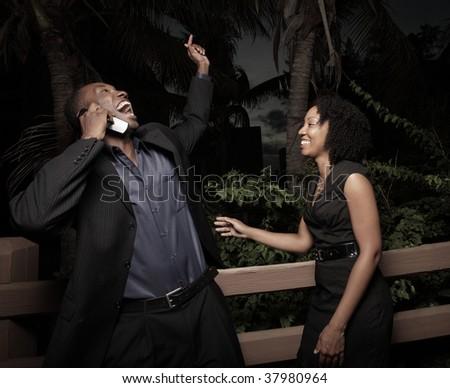 Couple receiving good news - stock photo
