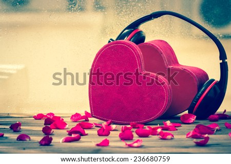 Couple red heart ,music of love - stock photo
