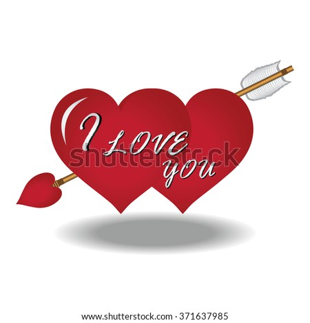 Couple Red Heart with Arrow and Text I Love You