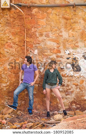Couple refusing to look at each other after a squabble - stock photo