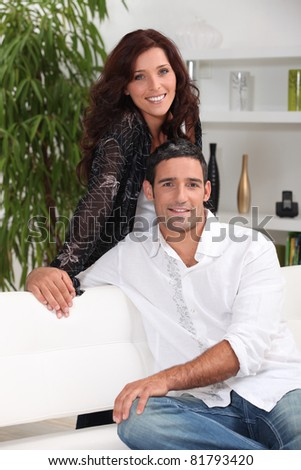couple relaxing home - stock photo