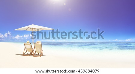 Couple Relaxing Tropical Beach Concept - stock photo