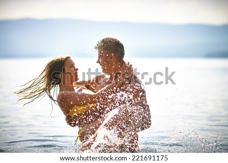 Couple resting on summer resort - stock photo