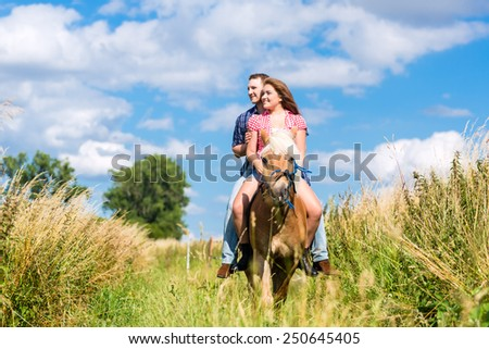 Couple riding on horse in summer meadow - stock photo
