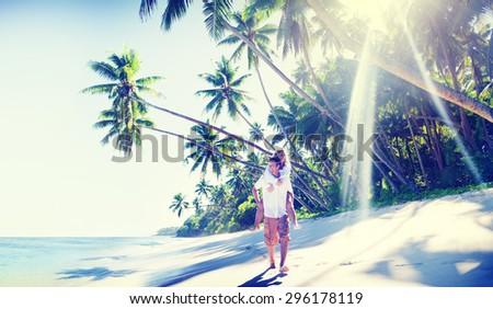 Couple Romance Beach Love Island Concept - stock photo