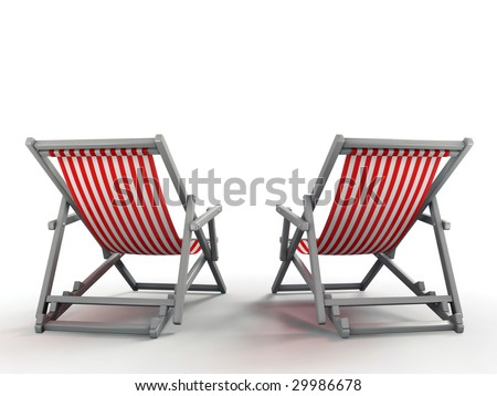 Couple's Place. Beach chairs isolated on white background. 3D rendered image - stock photo