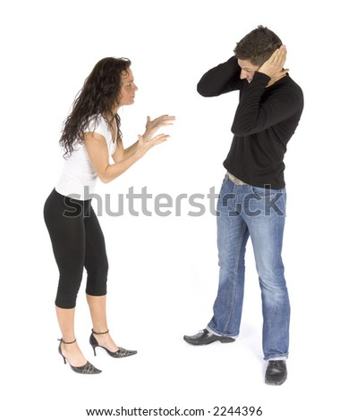 couple's quarrel  - woman crying; man stops ears (white background) - stock photo
