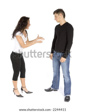 couple's quarrel  - woman crying (white background) - stock photo