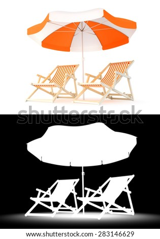 Couple's Rest Place. Two beach chairs and umbrella isolated on white background. 3D rendered image with luma matte channel for custom compositing. - stock photo