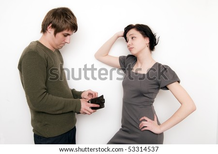 Couple scene, not too much money - stock photo