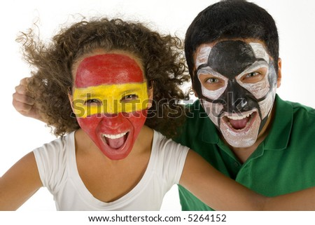 Couple screaming football's fans. They're looking at camera. Front view. Closeup on face. - stock photo