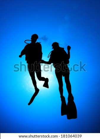 Couple Scuba Diving together silhouette - stock photo