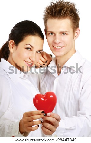Couple Sexy and red heart - stock photo