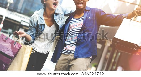 Couple Shopping Outdoors Store Lifestyle Concept - stock photo