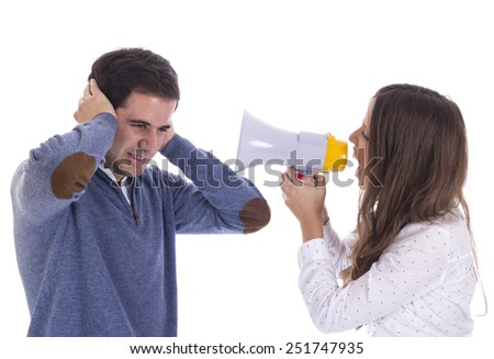 Couple shouting and protesting with megaphone - stock photo