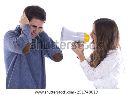 Couple shouting and protesting with megaphone
