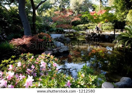 Couple sitting on a stone bench next to the pond surrounded by spring flowers.