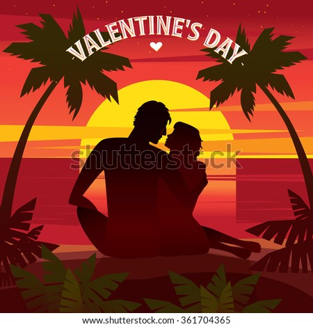 Couple sitting on a sunset on the beach and looking at each other - Valentine's Day concept. Raster version of illustration - stock photo