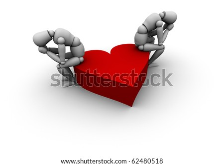 Couple Sitting on red heart - stock photo