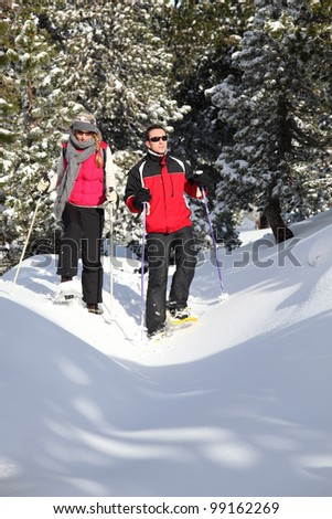 Couple skiing through the woods - stock photo