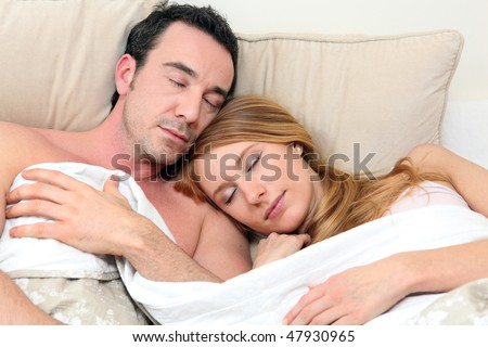 Couple sleeping in bed. Couple Sleeping Bed Stock Photo 47930965   Shutterstock