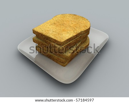 Couple slices bread in a plate - stock photo