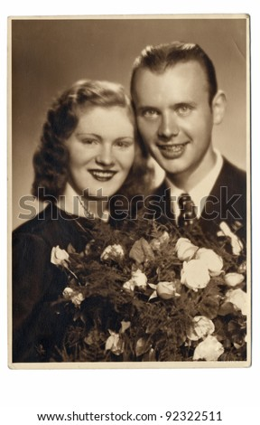 couple, spouses - photo scan - about 1945 - stock photo