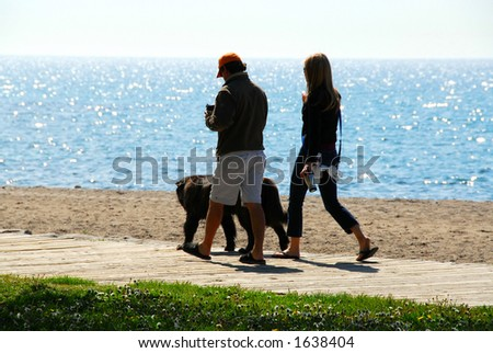 Couple talking a walk with their dog in the morning at beach - stock photo