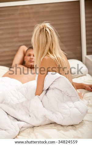 couple talking after sex - stock photo