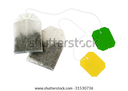 Couple teabags on white