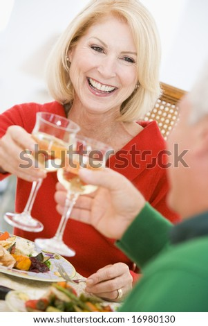 Couple Toasting At Christmas Dinner - stock photo