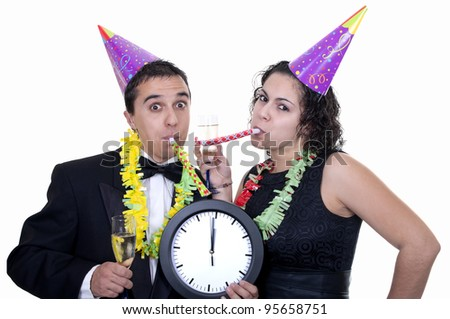 couple toasting with champagne on white background - stock photo