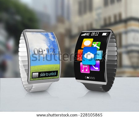 couple ultra-thin curved screen smartwatch with metal watchband colorful screen on desk and street background - stock photo