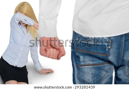 Couple violence concept with woman scared and man fist