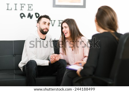 Couple visiting therapist for assistance - stock photo