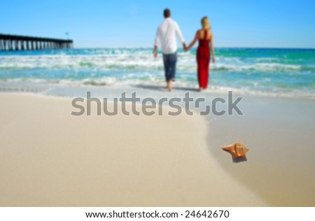 Couple wading in surf at beach by shell - stock photo
