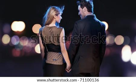 Couple walking - stock photo