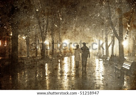 Couple walking at alley in night lights. Photo in old image style.
