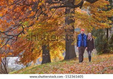 Couple walking in the autumn park on a sunny day - stock photo